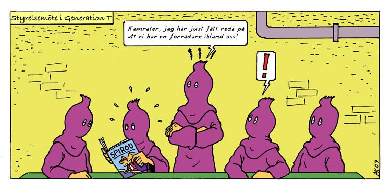 Styrelsemöte i Tintinföreningen! Teckning av Anders Brandén Klang.