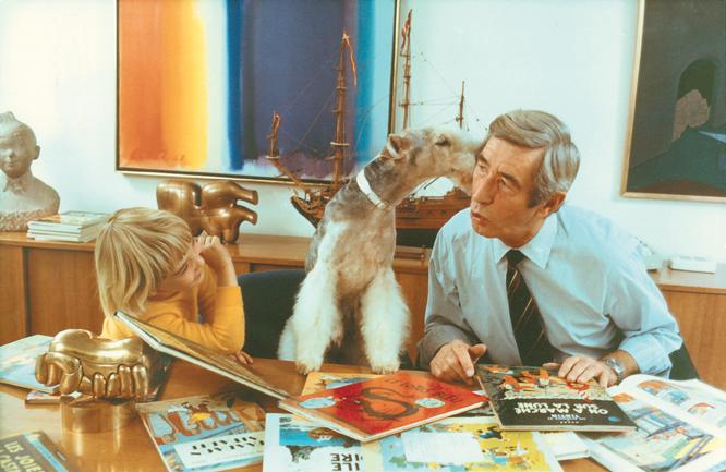 Hergé får fint besök på sitt kontor 1972.