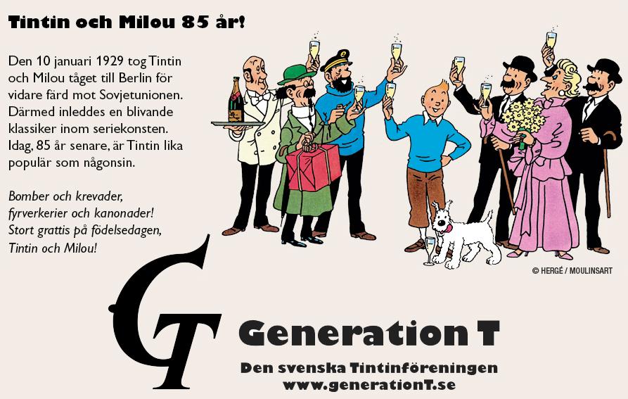 grattis på årsdagen Grattis på 85 årsdagen, Tintin och Milou!   Generation T – Den  grattis på årsdagen